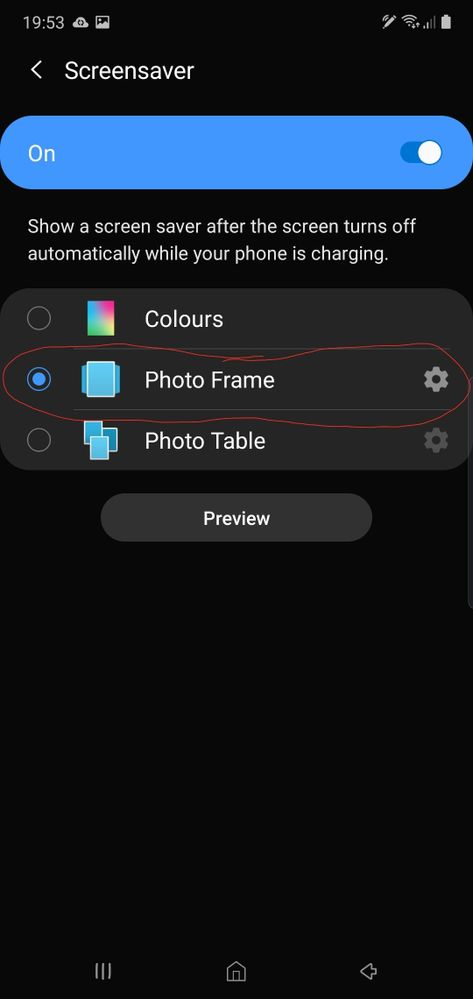 Choose photo frame and then press the Cog icon.