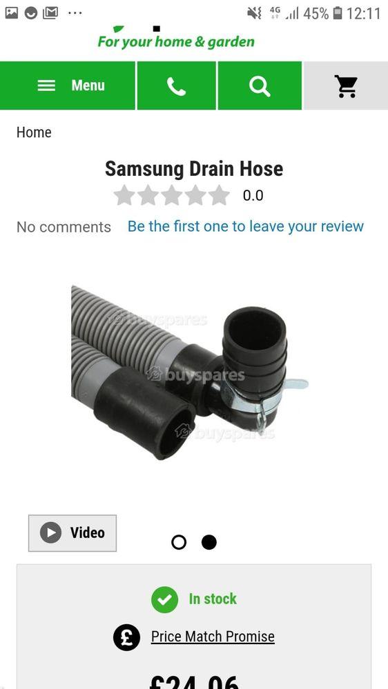 Standard  Samsung Waste Pipe