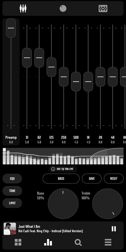 Equalizer (with fantastic presets) + Tone (Bass/Treble) + Limit (Avoid distortion) = Ear Orgasms
