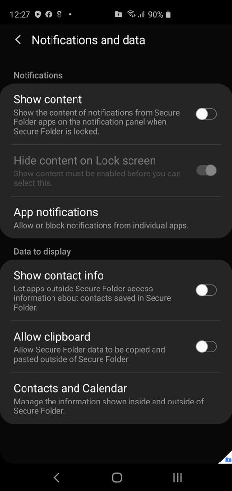 On the S20+, in the secure folder, the very last option with regards to 'Calendar and Contacts' is missing. The below is from my S10+.