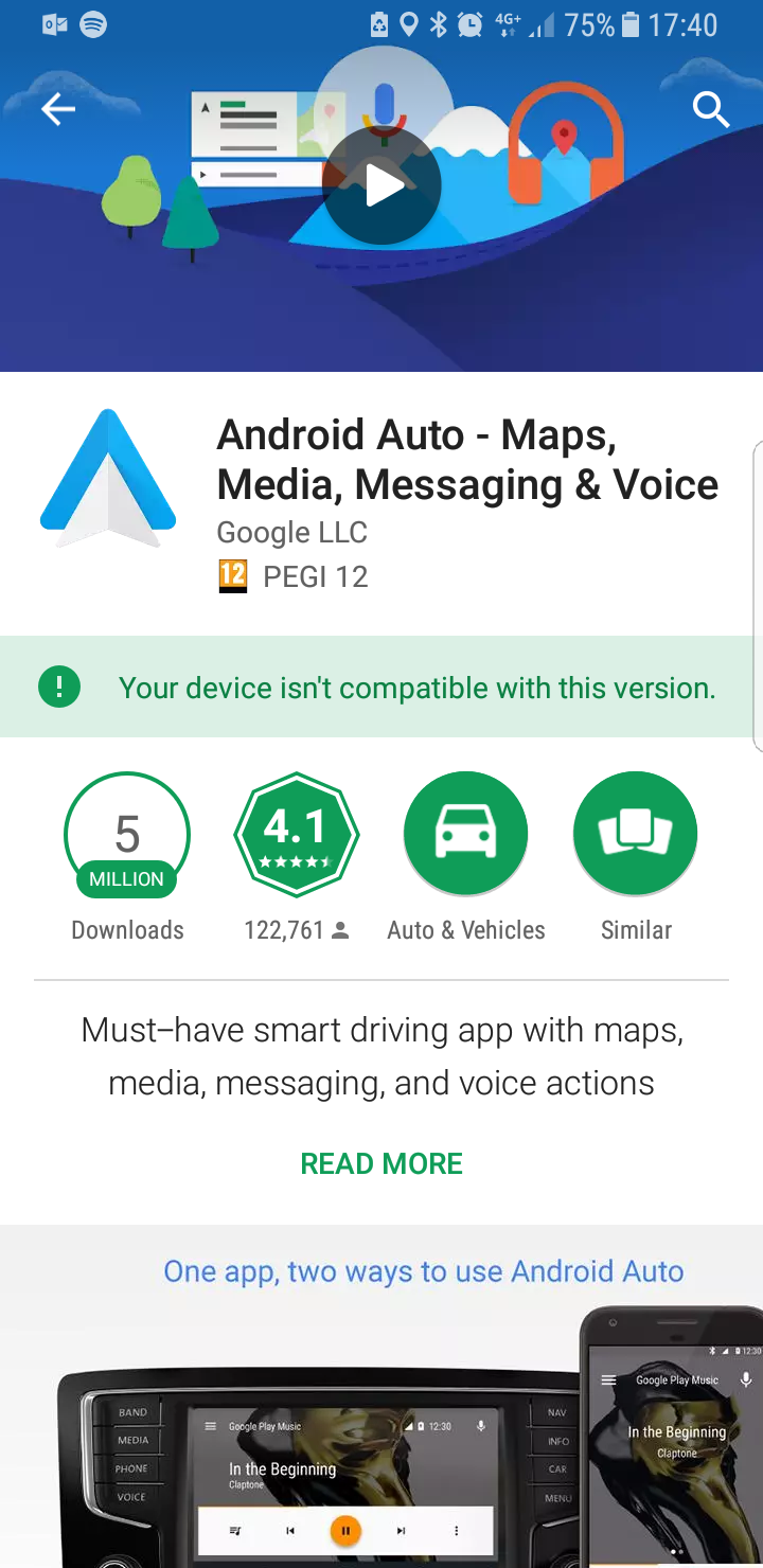 Android auto not compatable s8 - Samsung Community