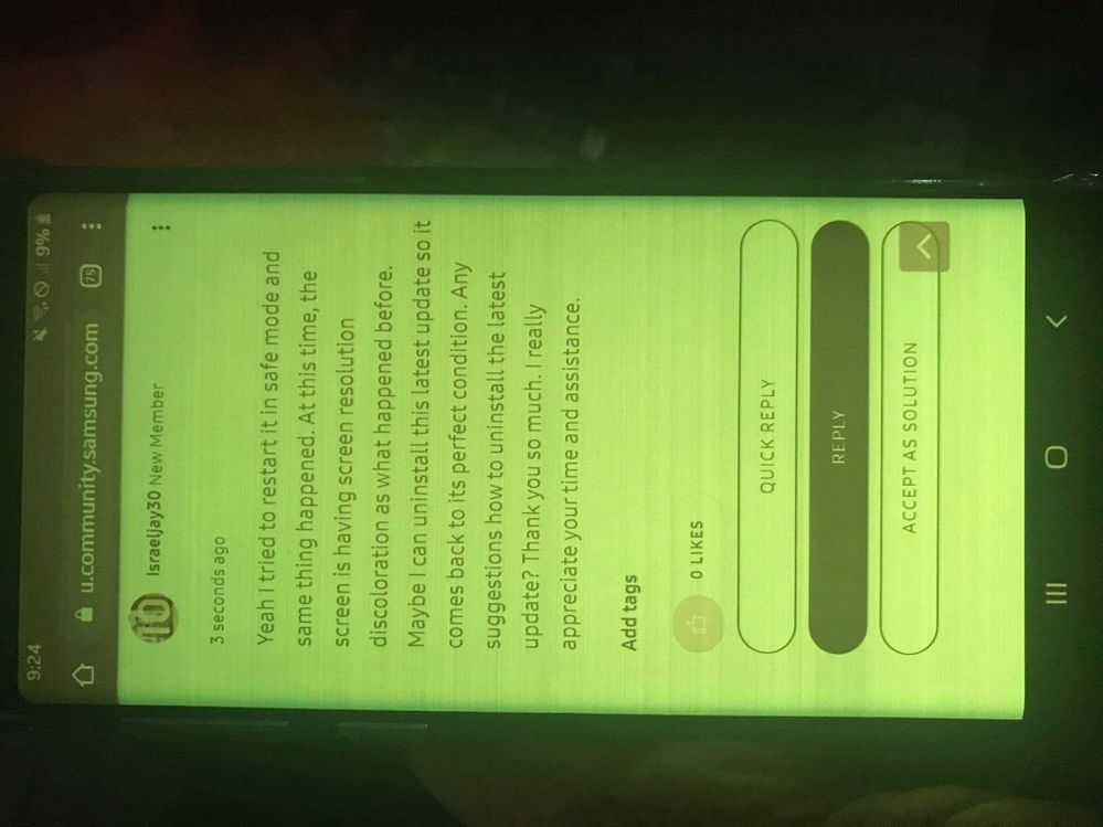 Screen discoloration keeps on coming back.
