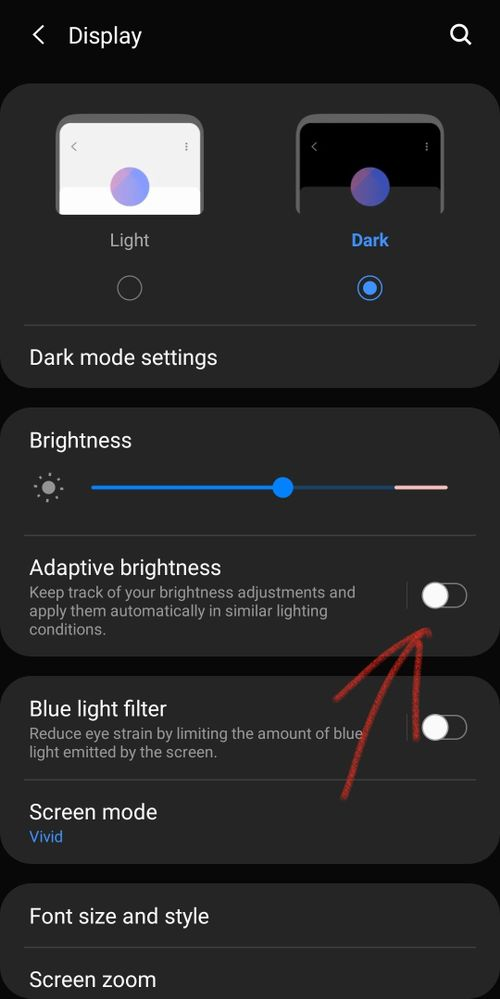 Adaptative Brightness