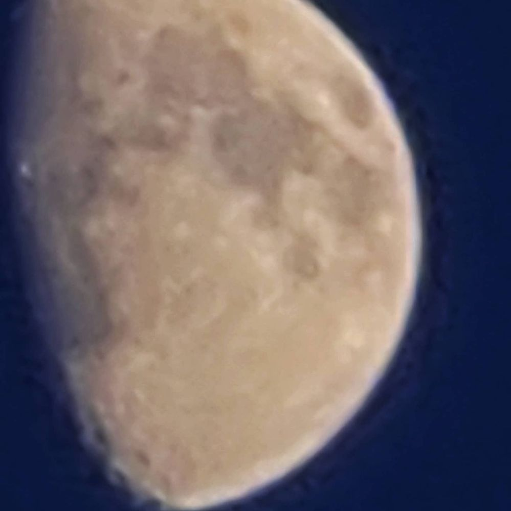 First image is of the moon using the x100 space zoom on the S20 Ultra  and shows the oil painting processing that Samsung do.  The second image is taken as a capture from a video taken at x100 which shows that you don't get the severe post processing.