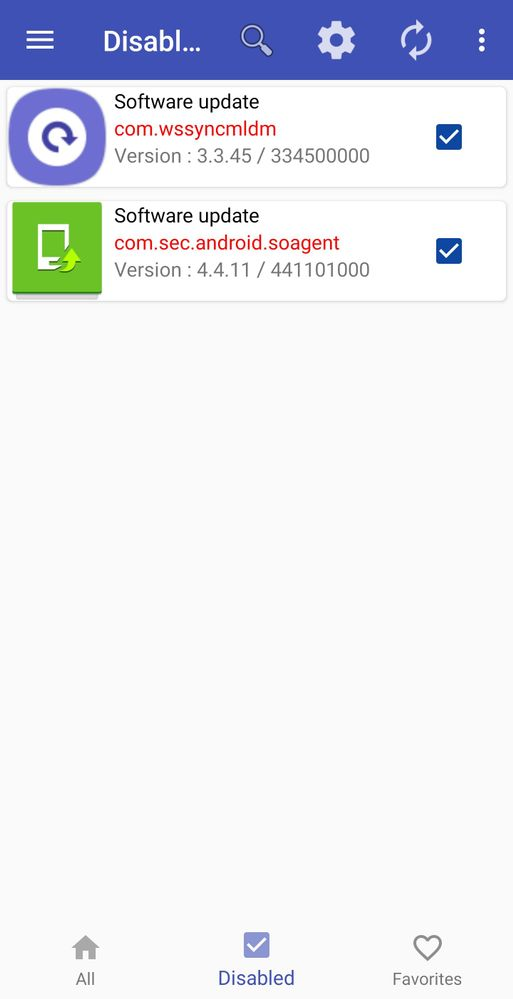 The 2 software app disabled in package disabler