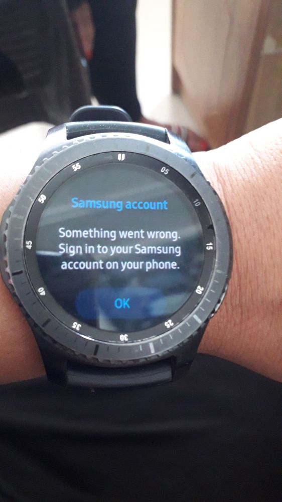 while checking the samsung account on my gear s3 frontier
