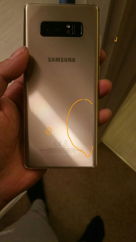 Re: Note 8 replacemt rear glass from Samsung has black sn