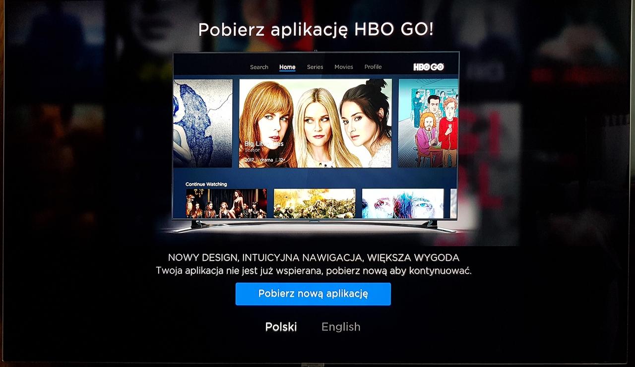 HBO GO - zainstaluj nową aplikację - stara straciła wsparcie