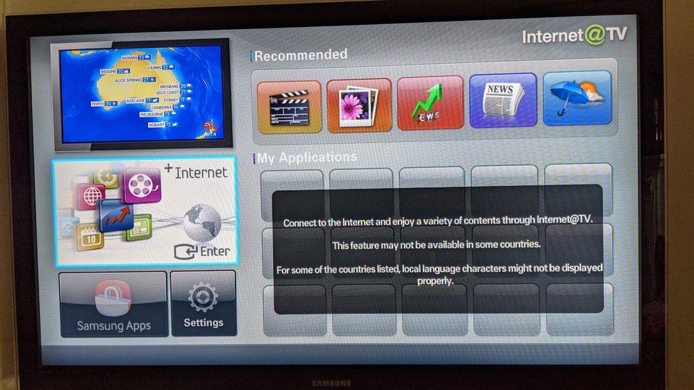 SAMSUNG INTERNET@TV NOT WORKING