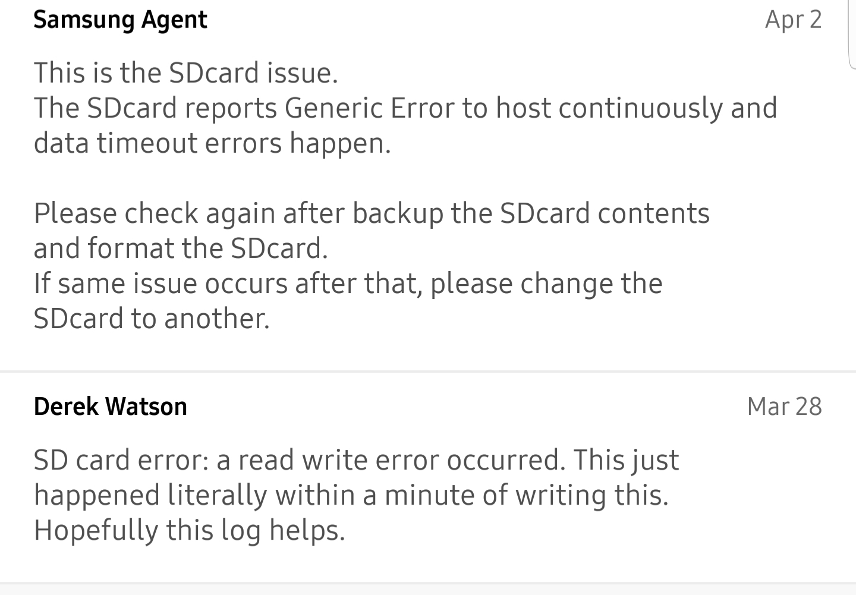 SD CARD ERROR ON S9+ - Samsung Community