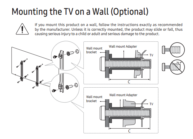 Solved Fitting Ue40k5500 To A Wall Bracket Samsung