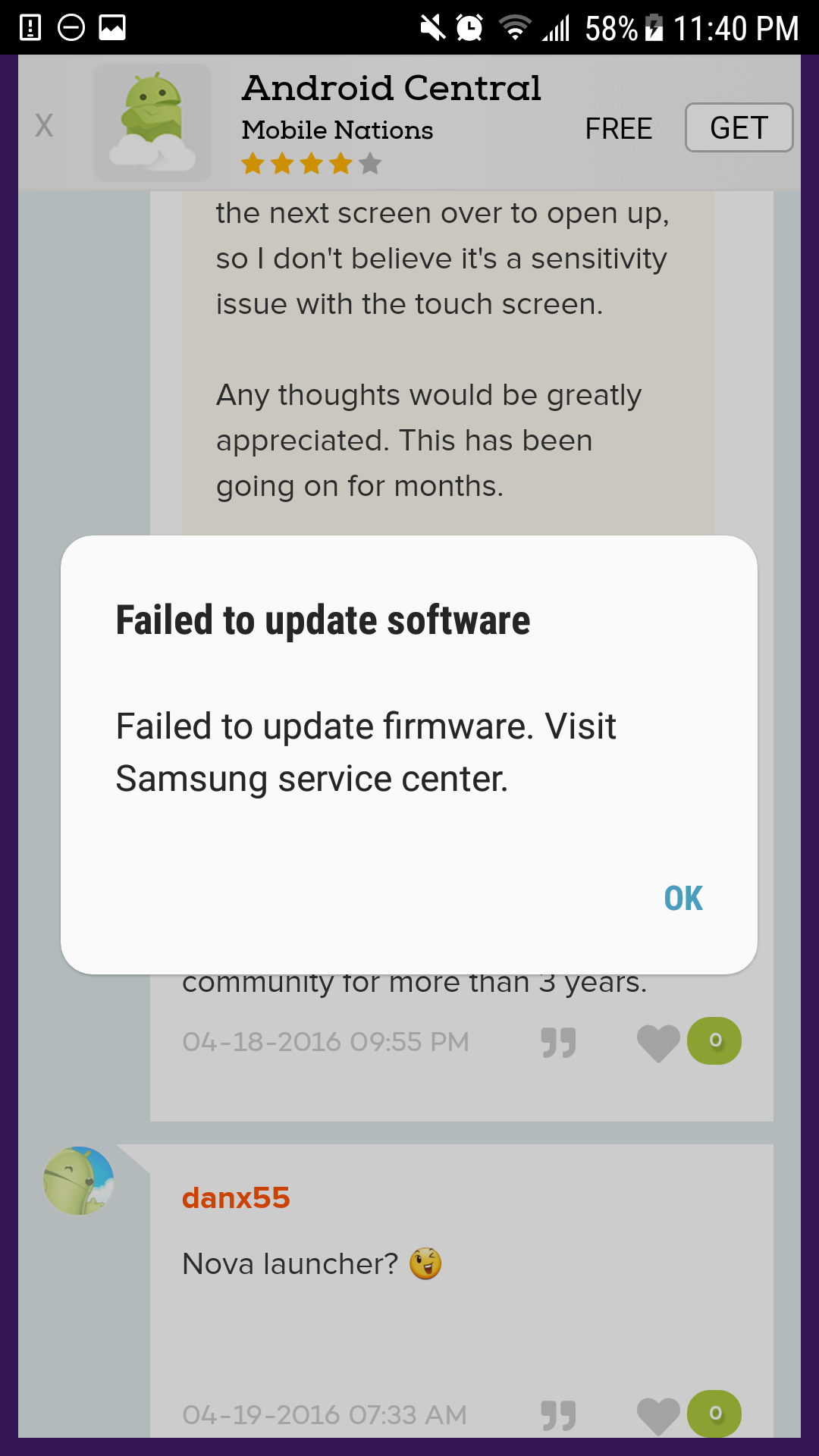 Failed to update firmware - Samsung Community
