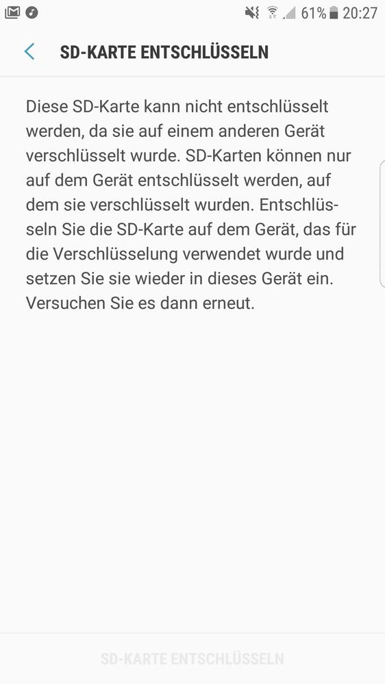 Gelöst Galaxy S7 Edge Verschlüsselung Der Sd Karte