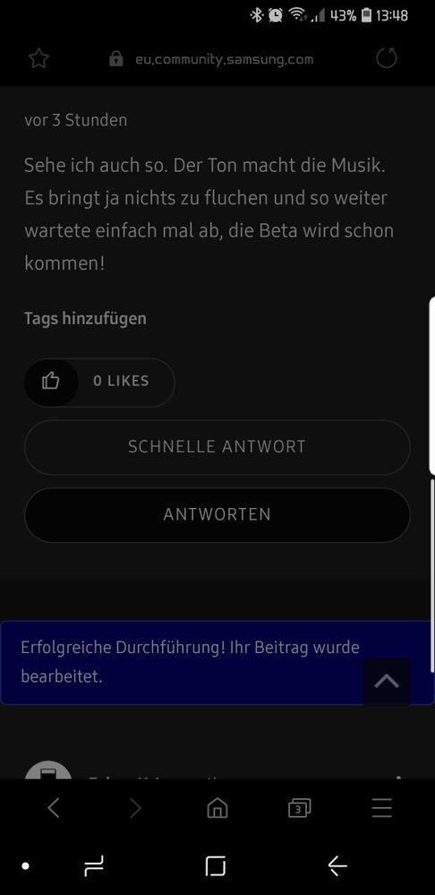 Samsung internet mit Nachtmodus