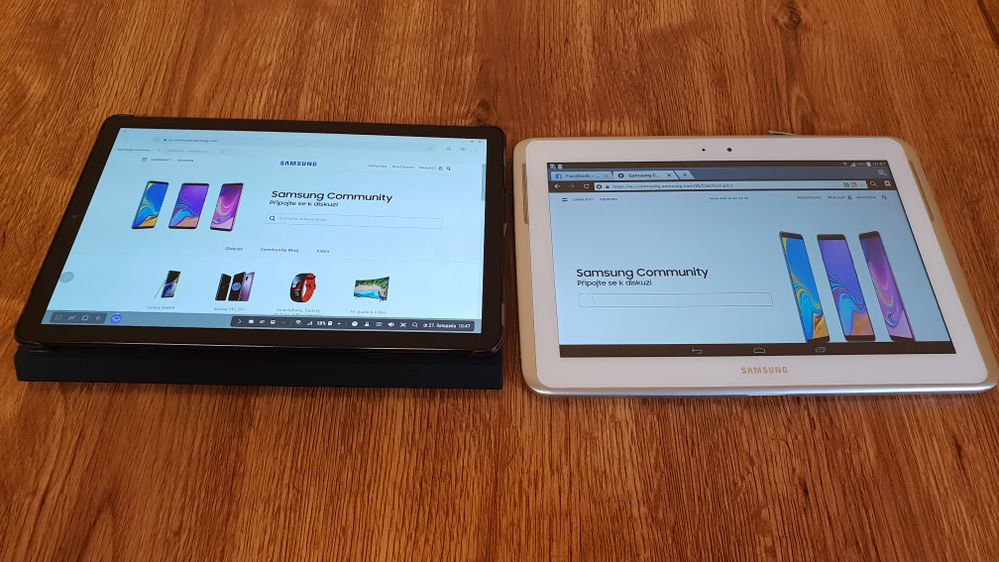 Displaying the same page in PC mode on Galaxy Tab S4 and my Galaxy Note 10.1 - the difference is essential