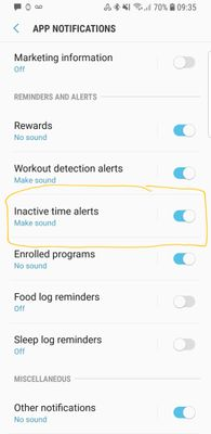 S Health app notifications, Inactivity Time Alerts