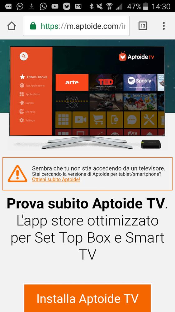 APTOIDE SU SMART TV SCARICARE
