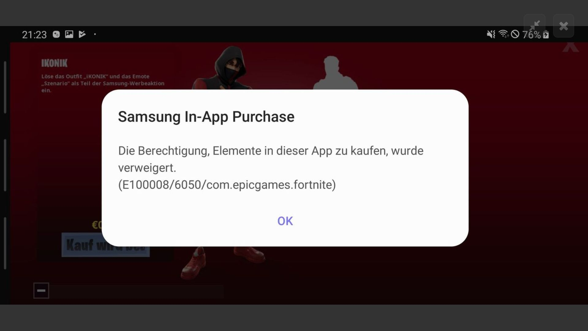 Unknown Error Fortnite Friend Request In App Purchase Denied New Samsung User S10 Ikon S Samsung Community