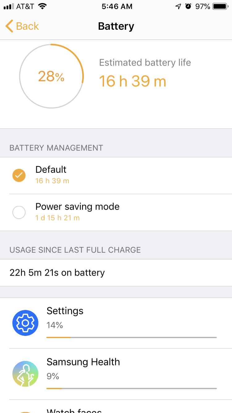 Something is rapidly draining the battery of my Gear S3 Frontier