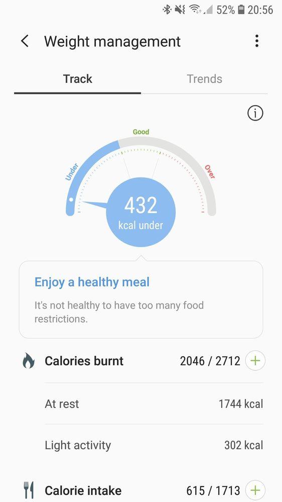 Samsung health weight Managment