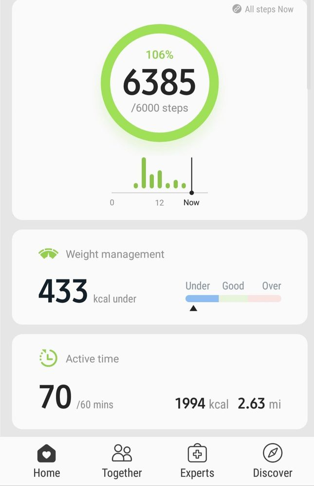 Samsung health active time