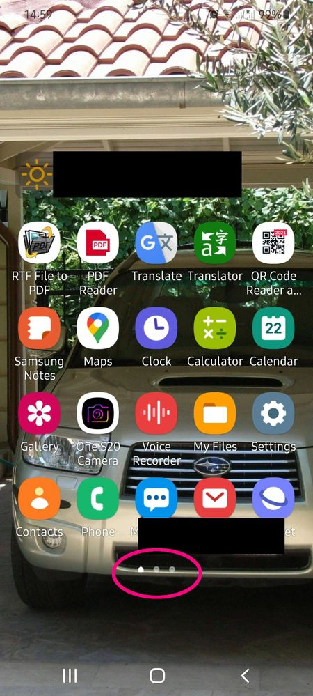 Home Screen with empty extra screens