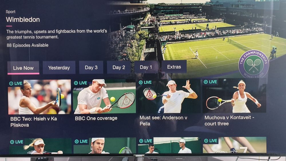Scroll across or down to find UHD (Centre Court)