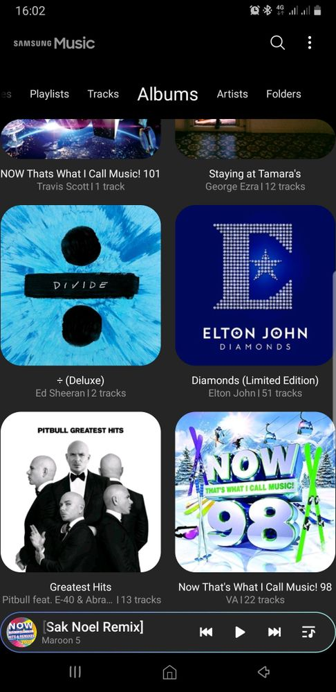 Some albums in Samsung Music.