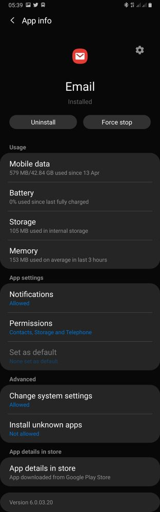 Stock Samsung email app info.