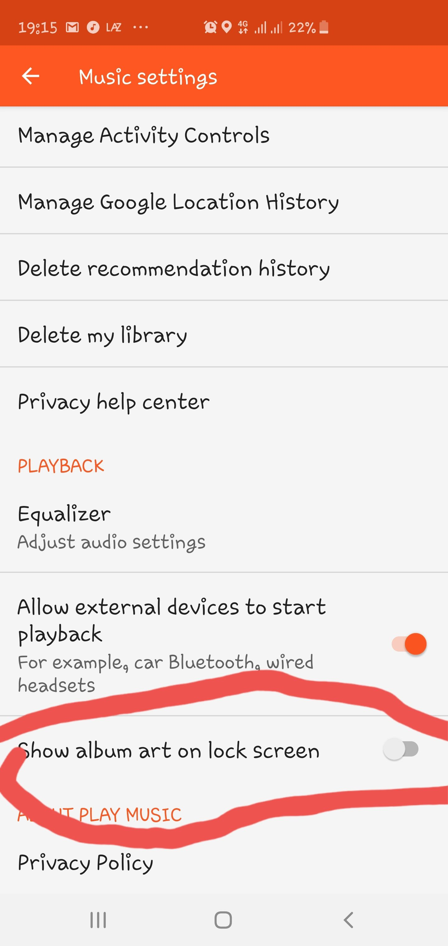Is it possible to disable music controls on the S10+ LED