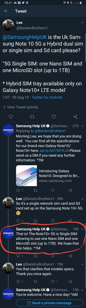 Samsung Twitter Team Tweet to me.