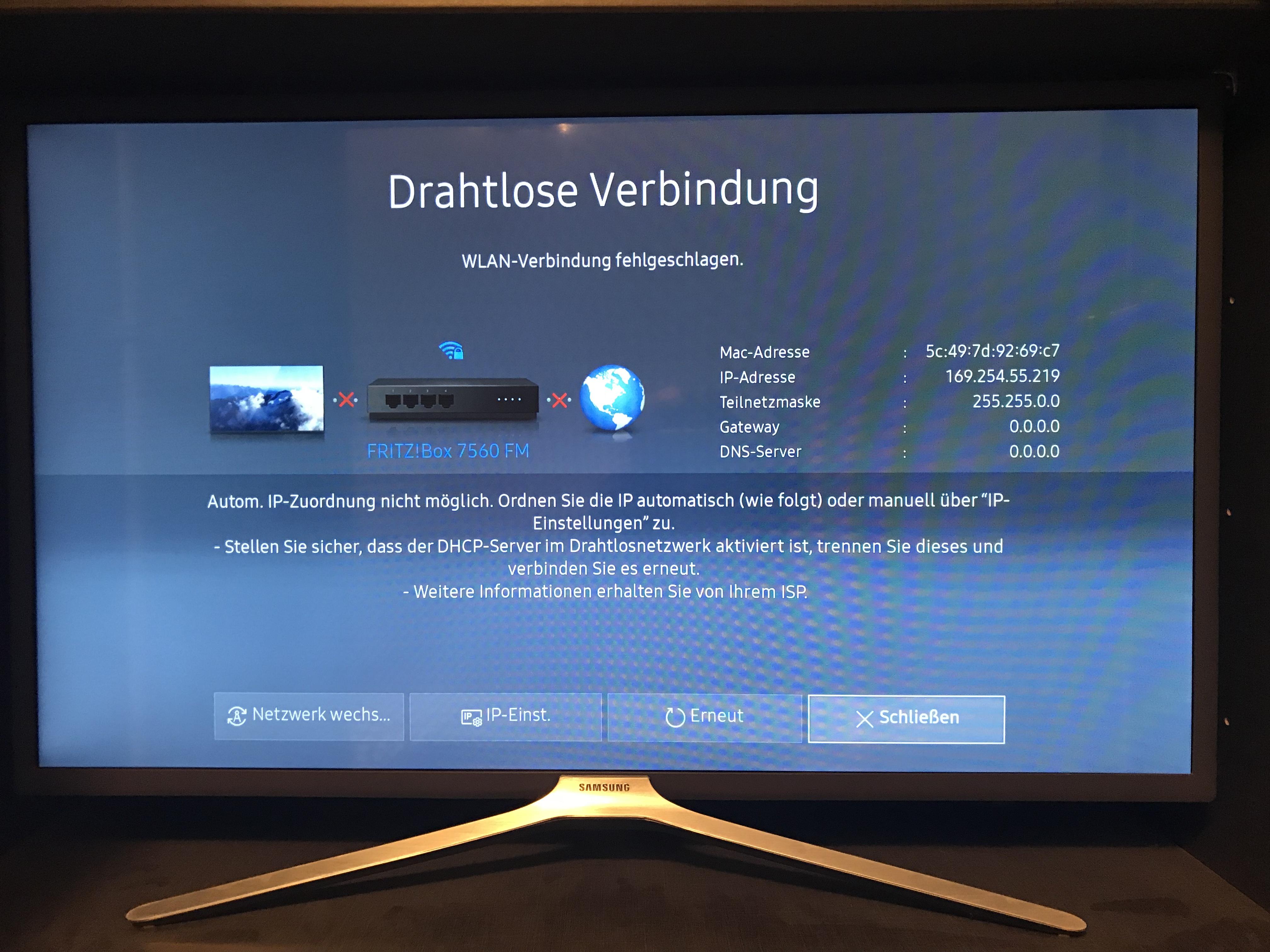 Gelöst: Fernseher verbindet sich nicht mit dem wlan - Samsung Community