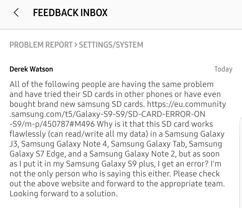 Sd Card Error On S9 Samsung Community