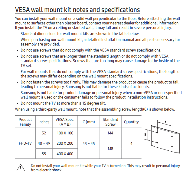 Solved Fitting Ue40k5500 To A Wall Bracket Samsung Community